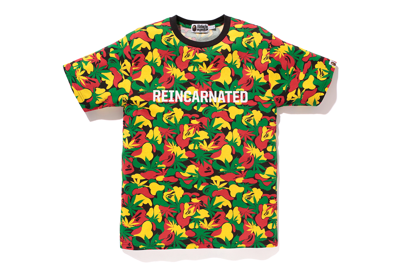 Image of A Bathing Ape x Snoop Lion RASTA CAMO TEE