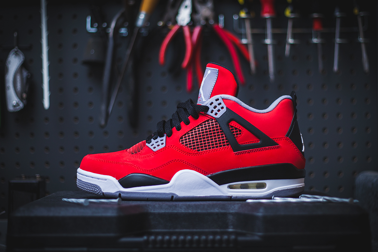 "Image of Air Jordan 4 Retro - Fire Red/Cement Grey ""Toro Bravo"""