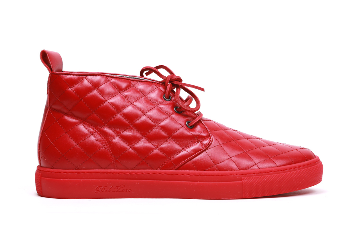 Image of Del Toro Red Quilted Nappa Leather Alto Chukka Sneaker