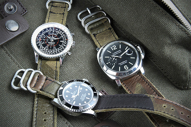 Image of Logan Zane x Crown & Buckle Green Camouflage Leather Nato Straps