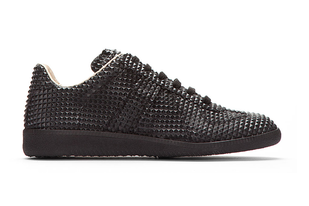 Image of Maison Martin Margiela Black Studded Low-Top Replica Sneakers