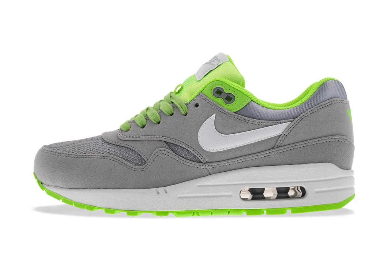 """Image of Nike Air Max 1 FB """"Venom"""" Wolf Grey/White-Flash Lime"""