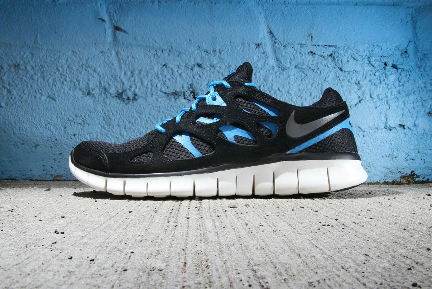 Image of Nike Free Run+ 2 Black/Dark Grey-Black-Blue Hero