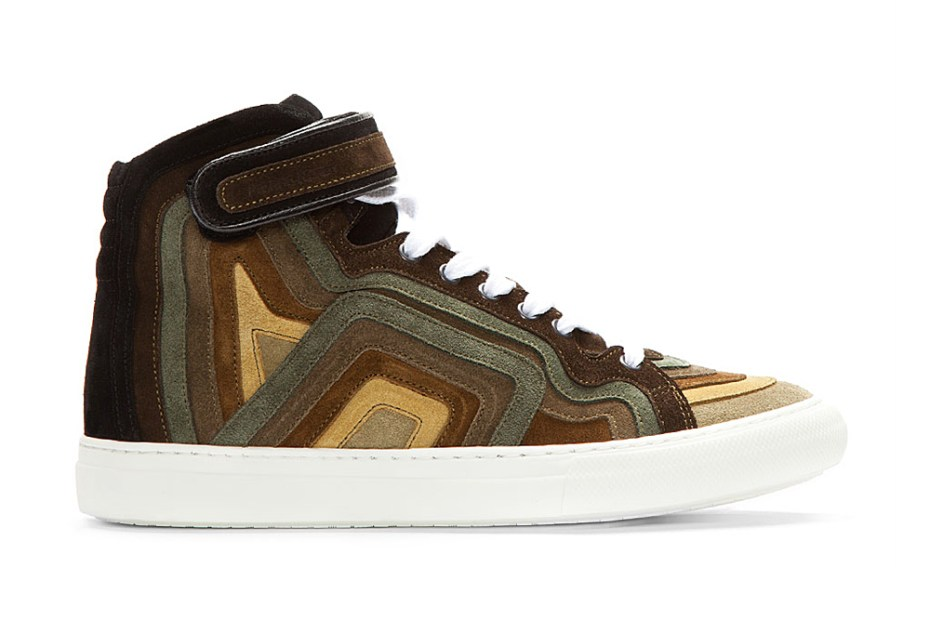 Image of Pierre Hardy 2013 Spring/Summer Khaki Rainbow Banded Suede High-Top