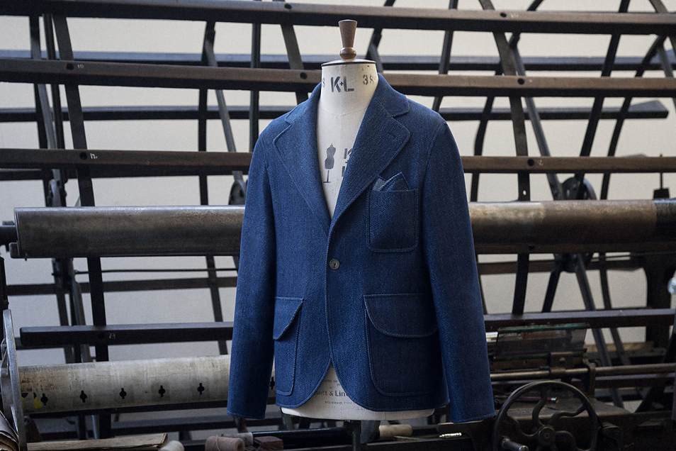 Image of S.E.H Kelly Rope-Dyed Indigo One-Button Blazer