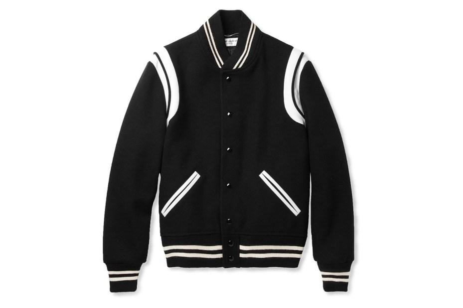 Image of Saint Laurent Leather-Trimmed Wool Blend Varsity Jacket