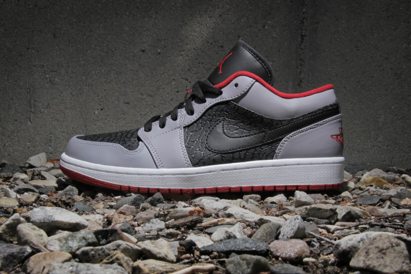 Image of Air Jordan 1 Low Black/Gym Red-Cement Grey