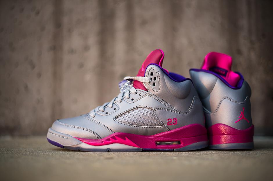 Image of Air Jordan 5 Retro Women's Cement/Pink-Raspberry