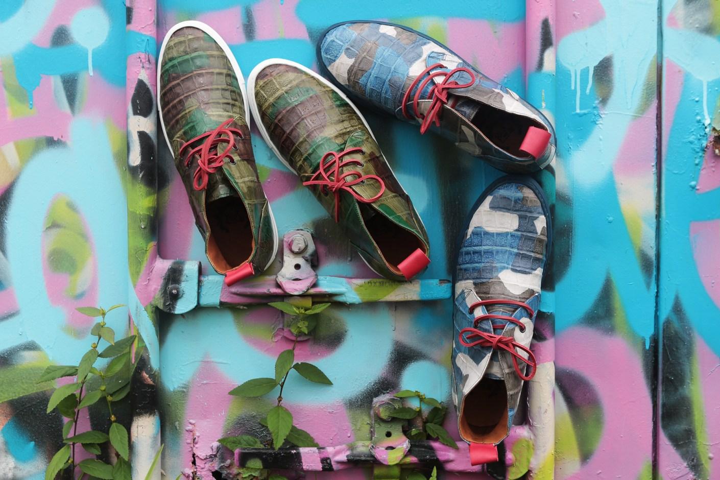 Image of Del Toro Military Camo Genuine Crocodile Alto Chukka Sneaker