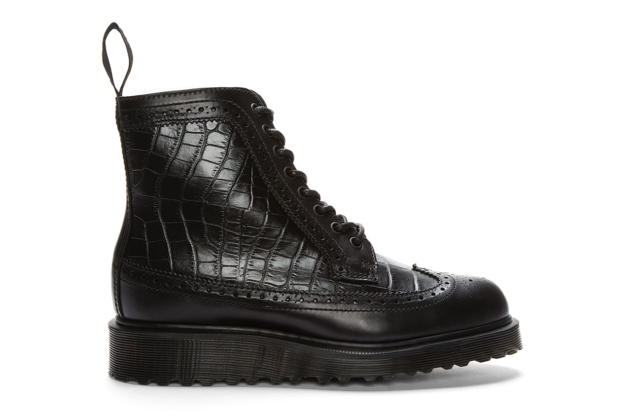 Image of Dr. Martens Black Croc-Embossed Leather Marcus Brogue Boots