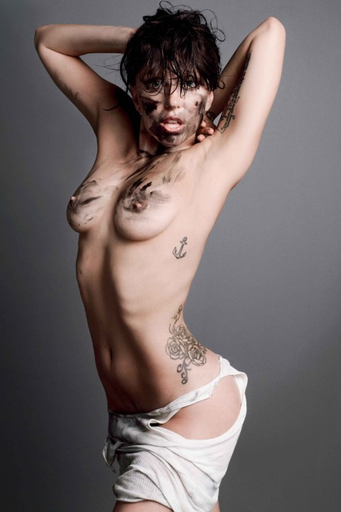 Image of Lady Gaga Appears Topless In V Magazine Issue 85