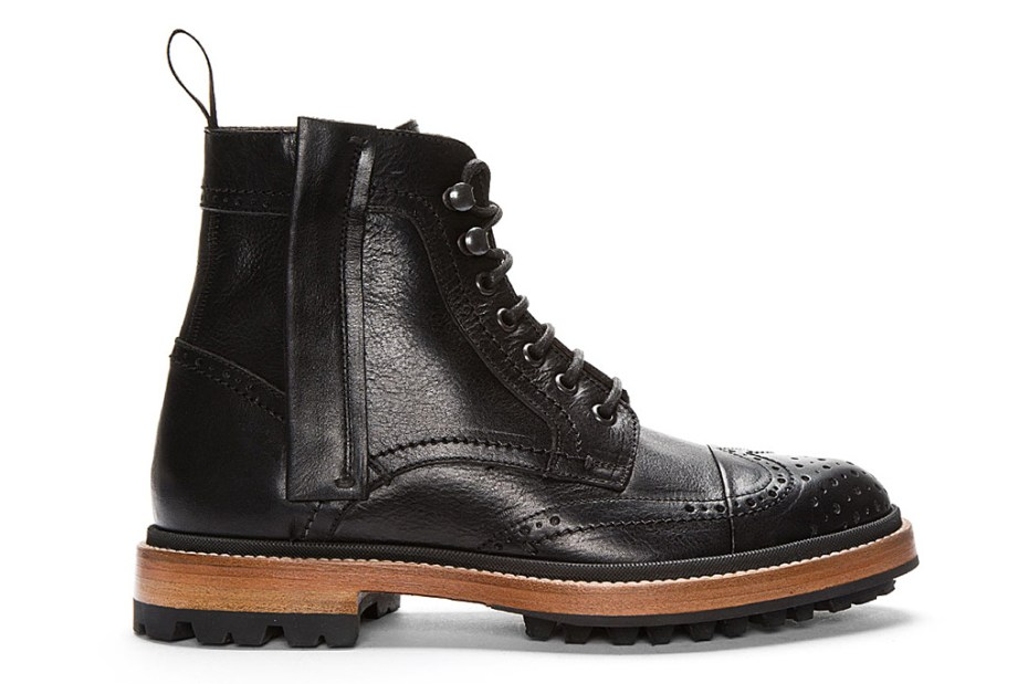 Image of Lanvin Black Leather Brogue Boots