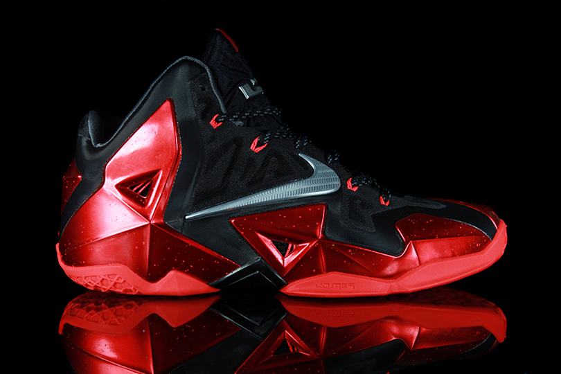 Image of Nike LeBron 11 Black/Metallic Silver-University Red-Bright Crimson Preview