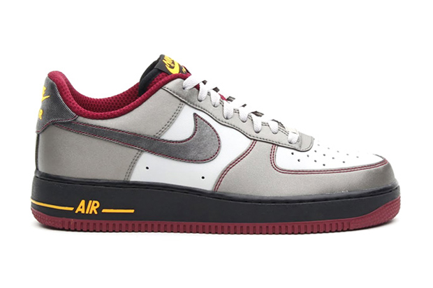 Image of Nike Air Force 1 Dusty Grey/Metallic Pewter-Cherrywood Red