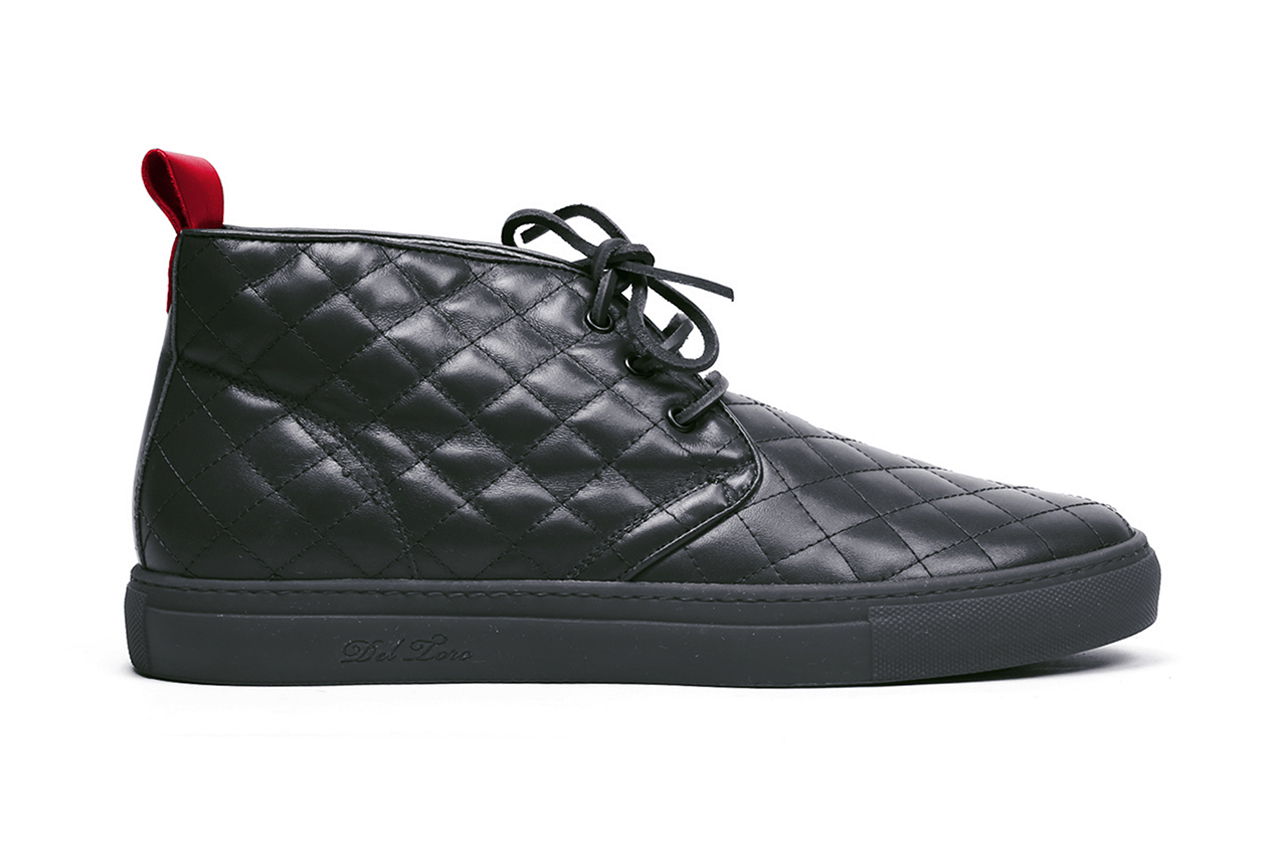 Image of Del Toro Black Quilted Nappa Leather Alto Chukka Sneaker