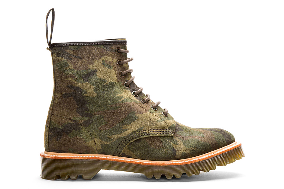 Image of Dr. Martens Green Suede Camo Print Premium 1460 8-Eye Boots