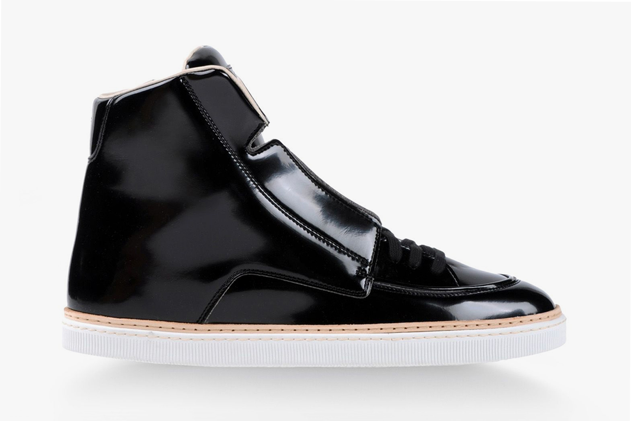 Image of Maison Martin Margiela 2013 Fall/Winter High-Top Black Patent Leather Sneaker