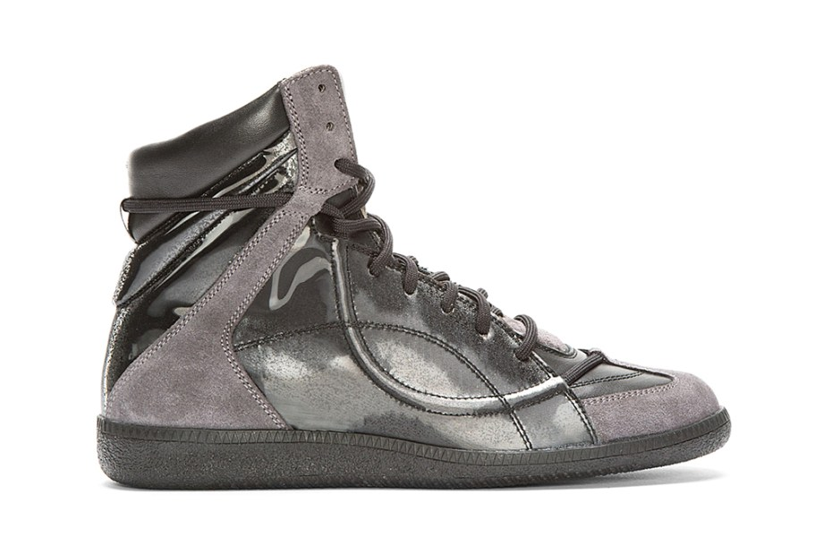 Image of Maison Martin Margiela Black Reflective High-Top Sneakers