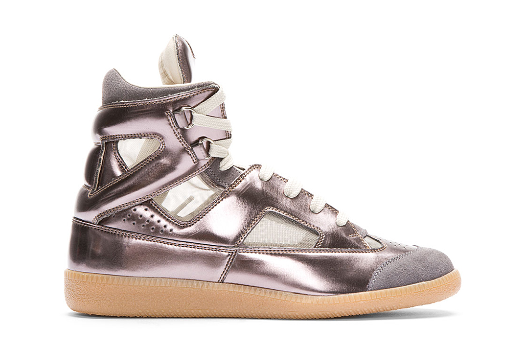 Image of Maison Martin Margiela Leather Replica High-Top Metallic Pewter SSENSE Exclusive