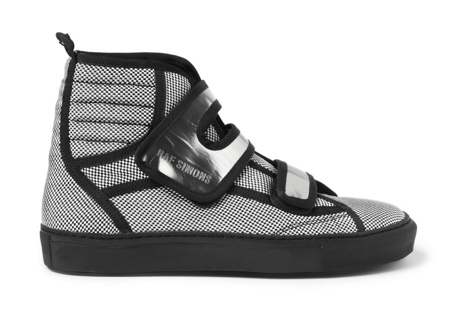 Image of Raf Simons Woven Check High Top Sneaker