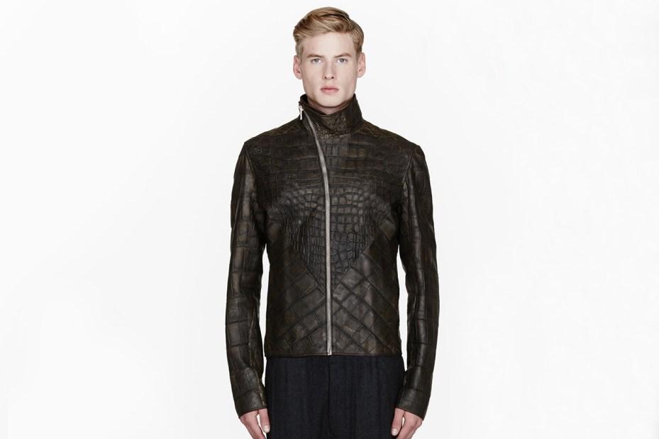 Image of Rick Owens Olive Wild Alligator Leather Hun Jacket