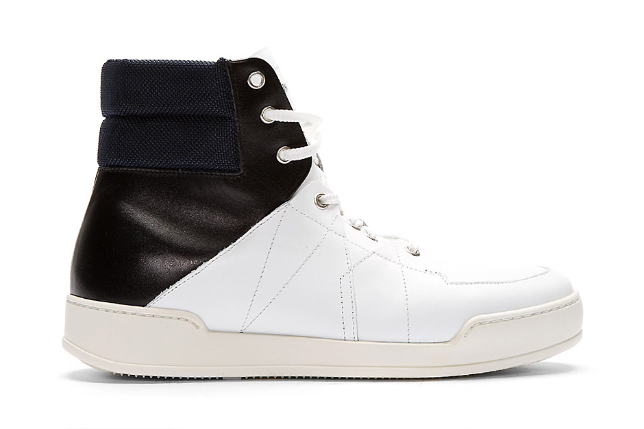 Image of Umit Benan White Tricolor Leather High-Top Sneakers