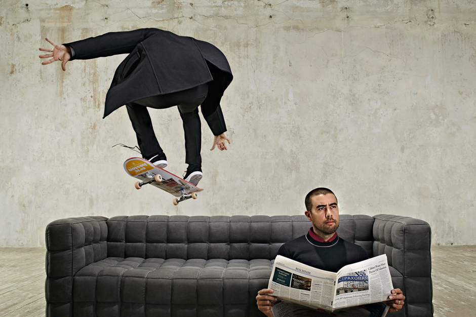 """Image of Eric Koston """"Flying Pizza"""" for Esquire Russia"""