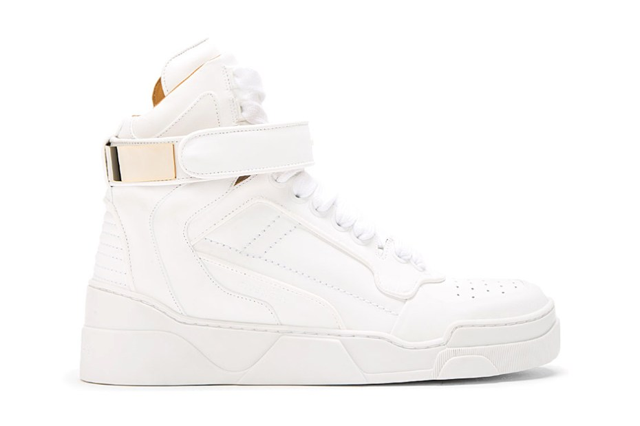Image of Givenchy White Leather Gold-Plated High Top Sneakers