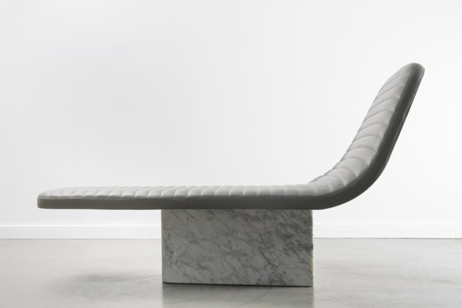 Image of Grégoire de Lafforest Leather & Marble Lounge Chair