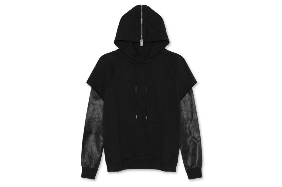 Image of Saint Laurent Leather Sleeve Parka