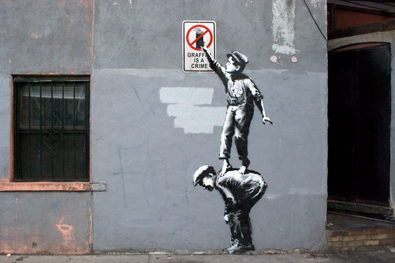 Image of Banksy 'The Street Is In Play' Street Art in New York's Chinatown