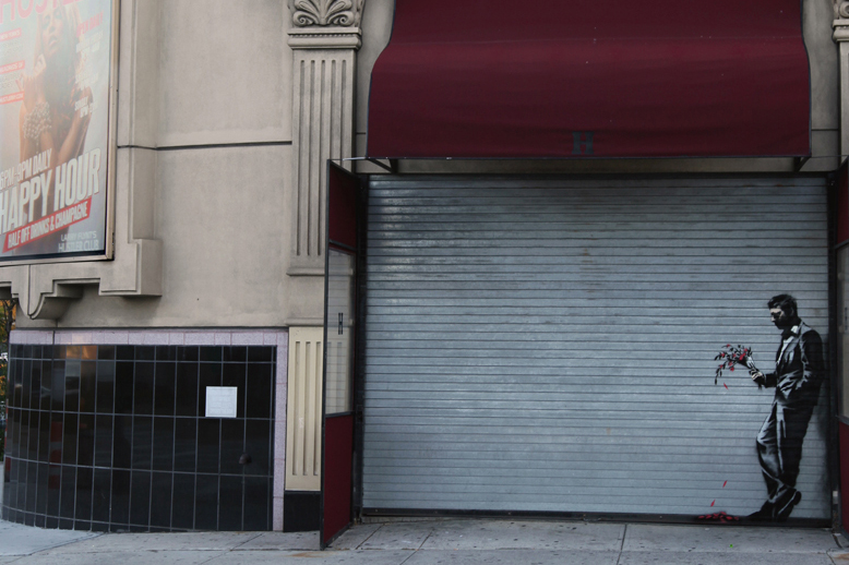 """Image of Banksy Hits Hell's Kitchen's Hustler Club for """"Better Out Than In"""""""