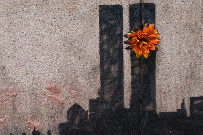 Image of Banksy Pays Homage to the Twin Towers in Tribeca