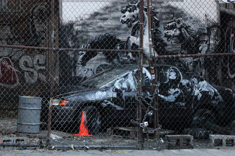 "Image of Banksy's 'Crazy Horse' On the Lower East Side for ""Better Out Than In"""