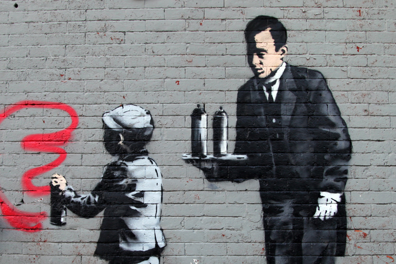 "Image of Banksy's 'Ghetto 4 Life' for ""Better Out Than In"""