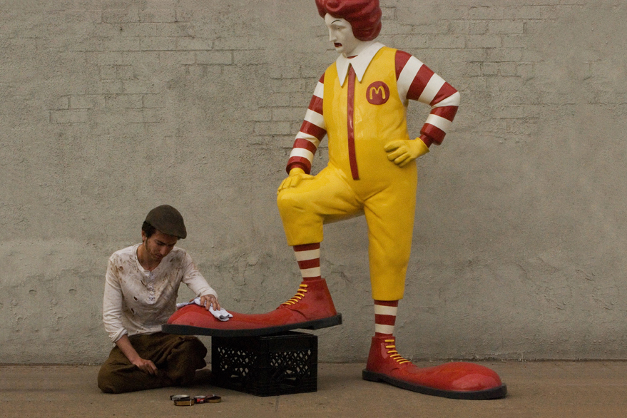 "Image of Banksy's Ronald McDonald Sculpture for ""Better Out Than In"""