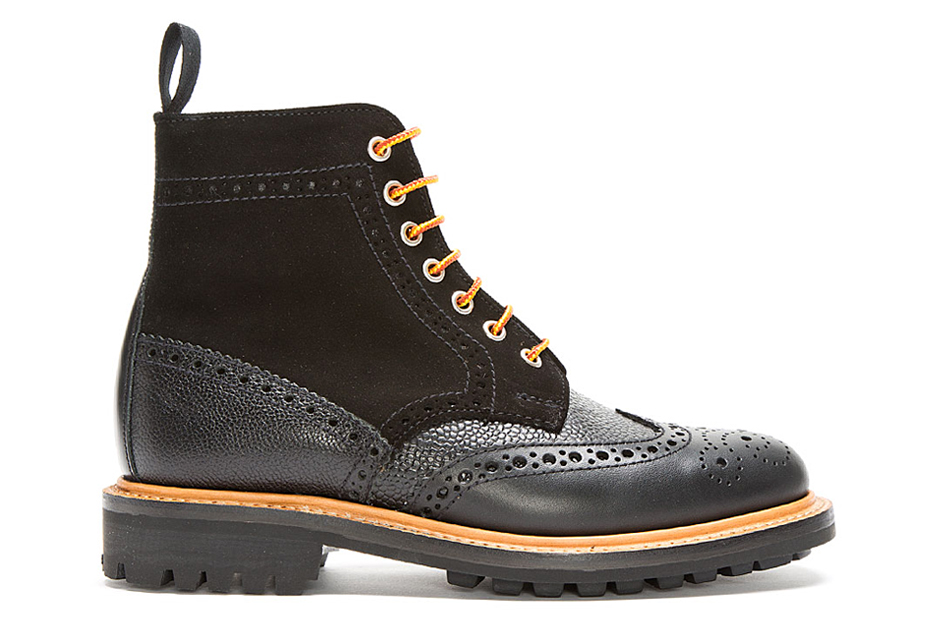 Image of Mark McNairy New Amsterdam Black Leather & Suede Crazy C Brogue Boots