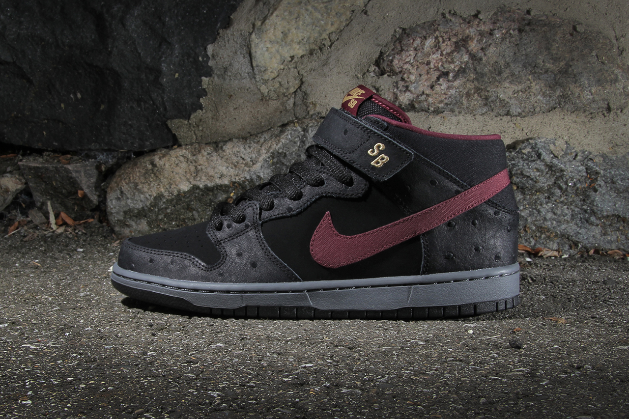 Image of Nike SB Dunk Mid Pro Black/Light Graphite-Cherrywood Red