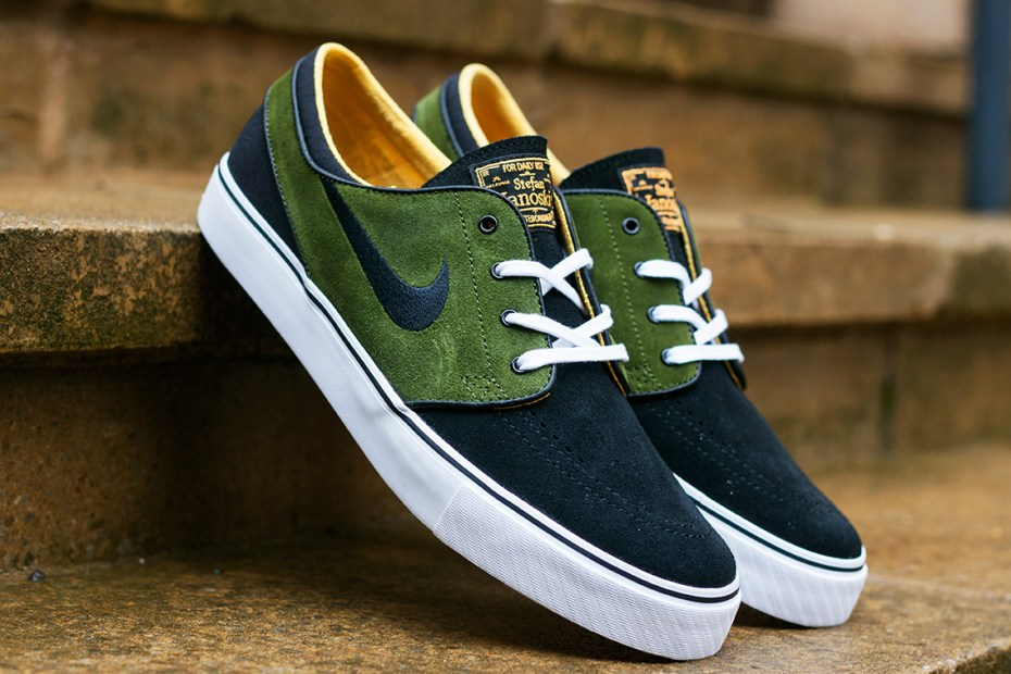 Image of Nike SB Zoom Stefan Janoski Black/Legion Green-Laser Orange