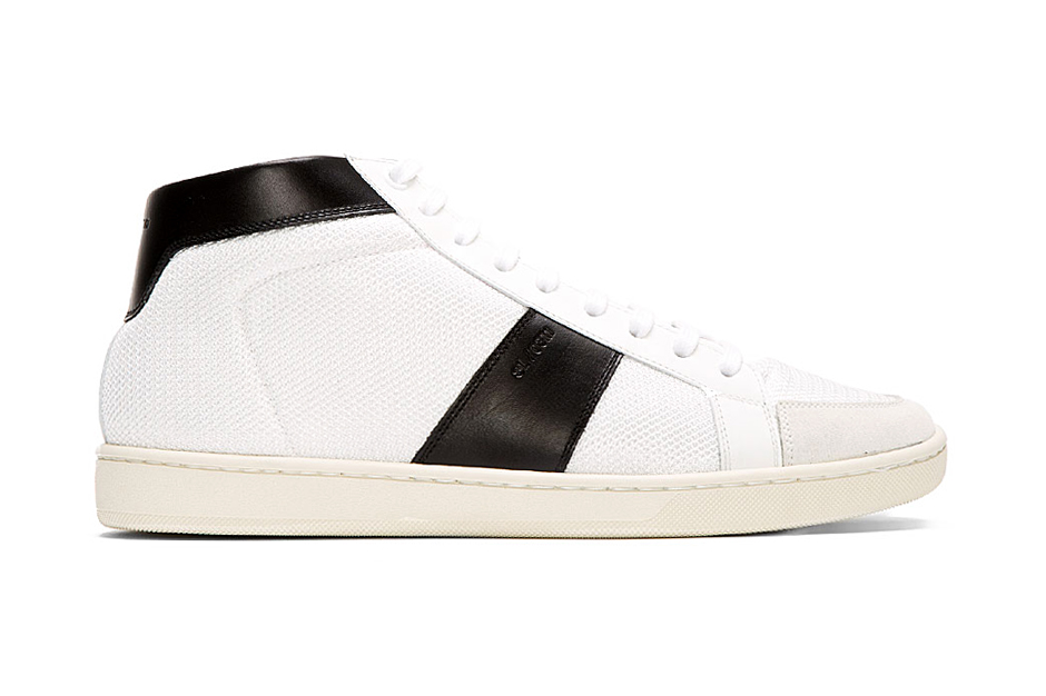 Image of Saint Laurent White Leather-Trimmed Mid-Top Sneakers