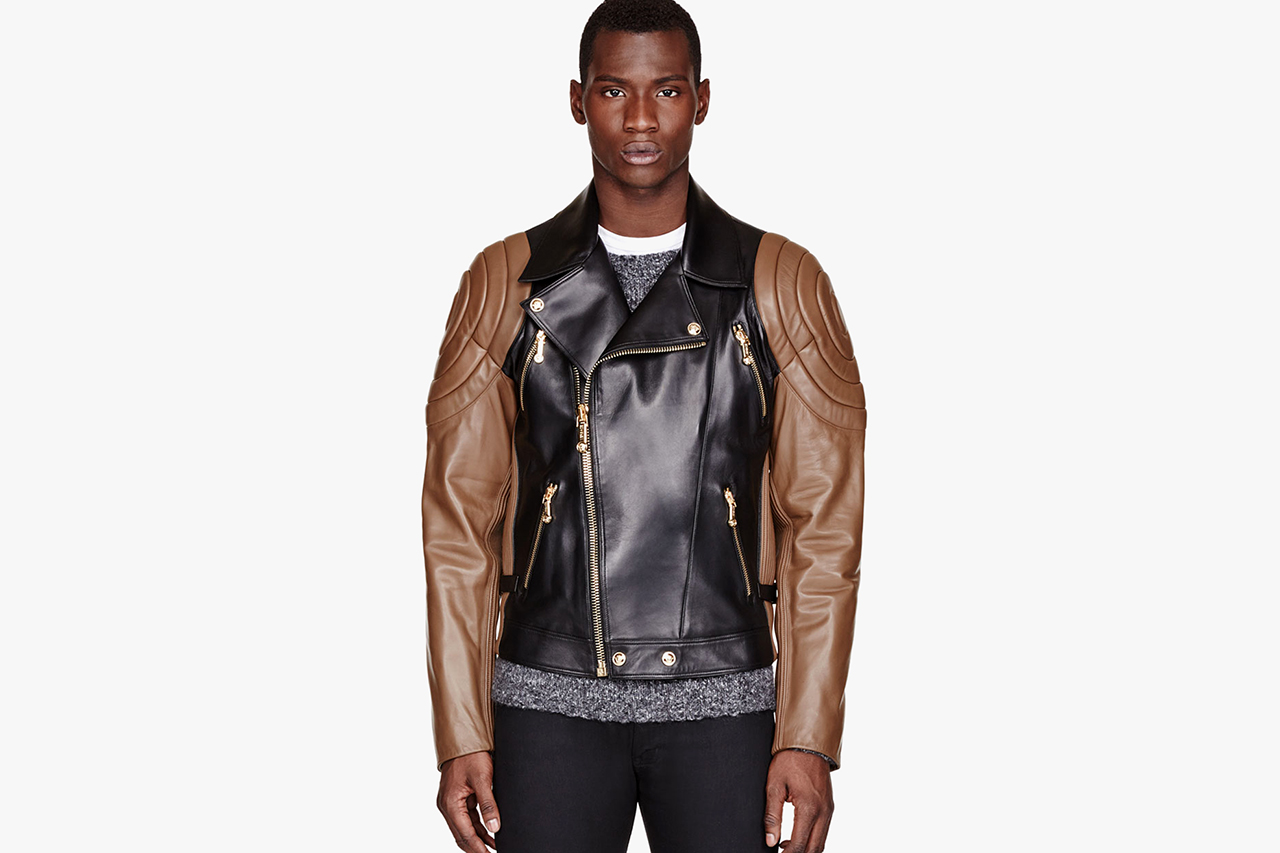 Image of Versace Black & Brown Quilted Leather Jacket