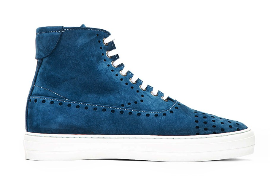 Image of Alexander McQueen Blue Suede Perforated High-Top Sneakers