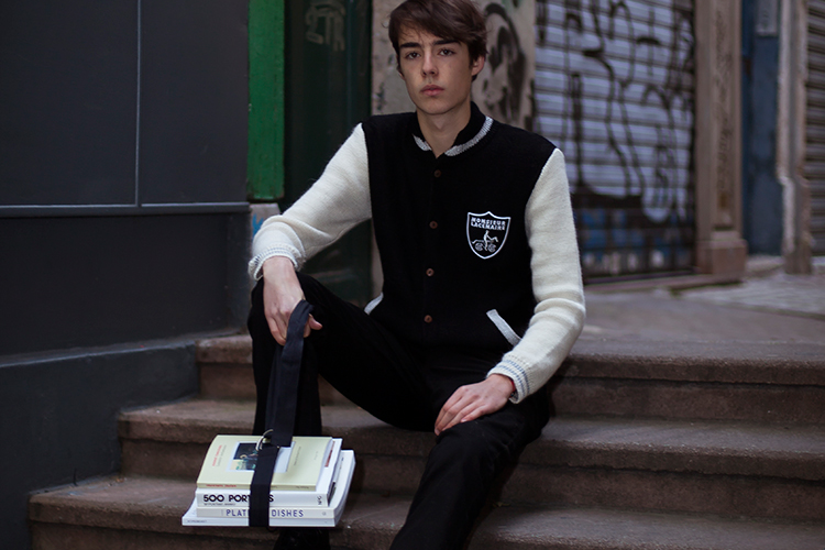 Image of CLOT x Monsieur Lacenaire Teddy French Knitted Varsity Raiders Jacket