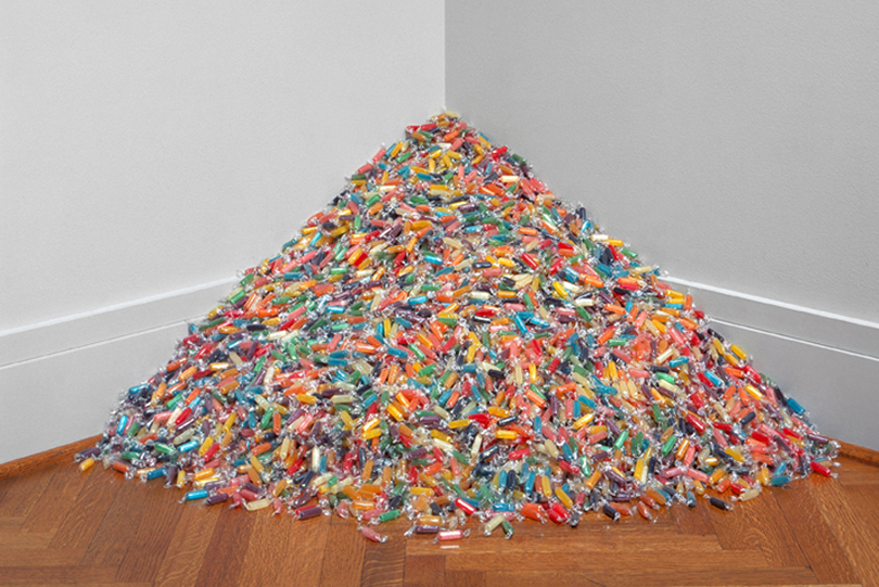 "Image of Damien Hirst and Felix Gonzales-Torres ""Visual Candy"" Installation"