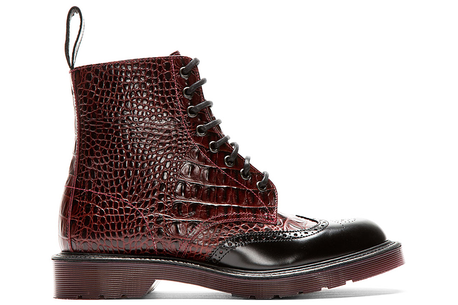 Image of Dr. Martens Burgundy Crocodile Brogued Wingtip Calder Boot