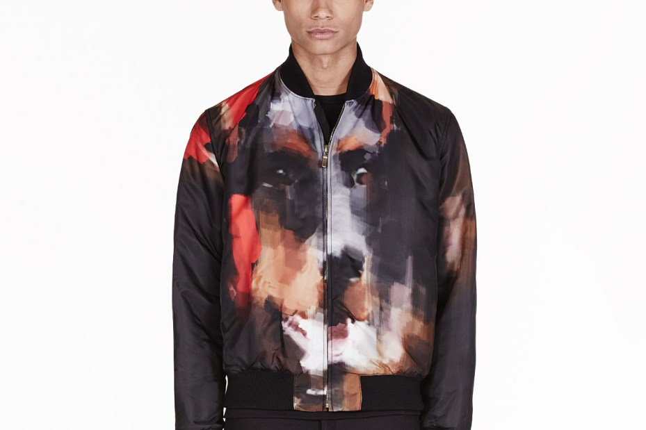 Image of Givenchy Black Digital Doberman Print Bomber Jacket