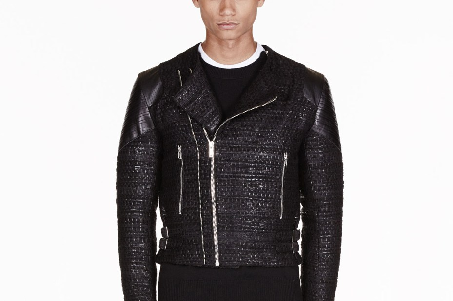Image of Givenchy Black Tweed Leather Trimmed Biker Jacket