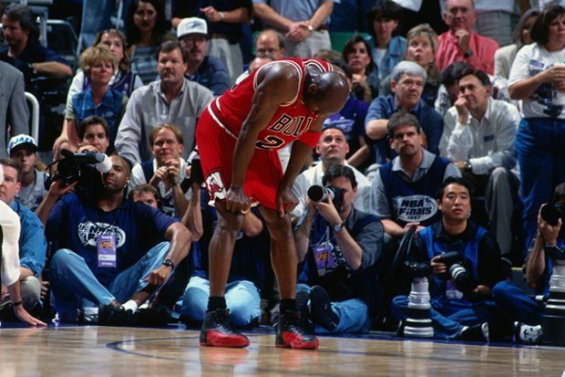 "Image of Michael Jordan's Shoes from Legendary ""Flu Game"" for Sale"