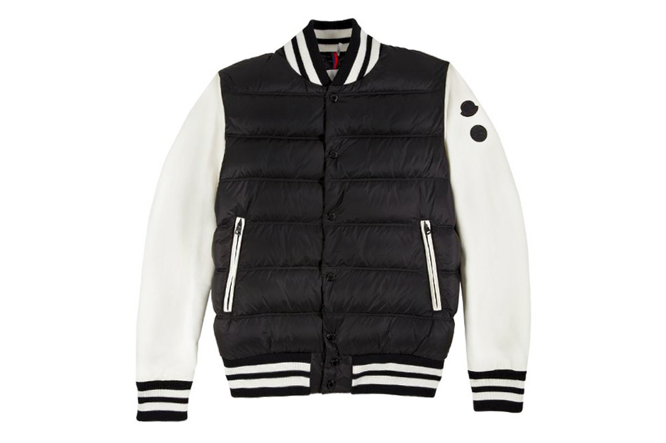"Image of Moncler's Leather Sleeve Varsity Jacket for Barneys & Jay Z's ""A New York Holiday"""