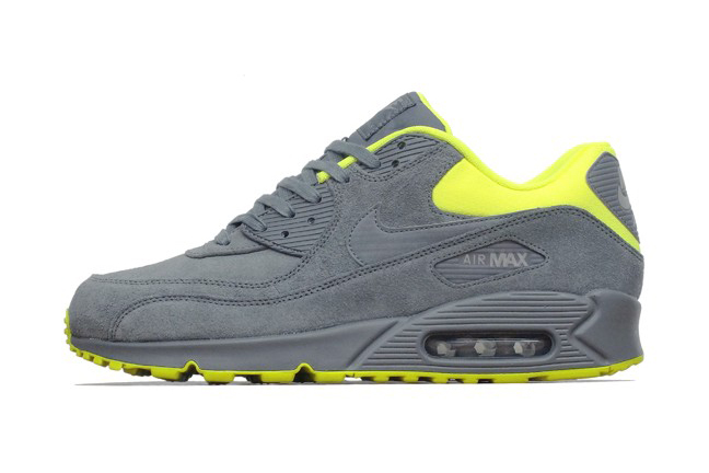 Image of Nike Air Max 90 Premium Dark Grey/Volt-Medium Grey